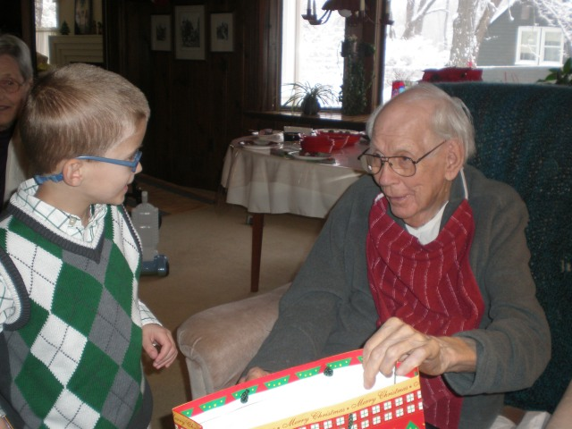 Dad With His Great-Grandson Theo, Christmas, 2013