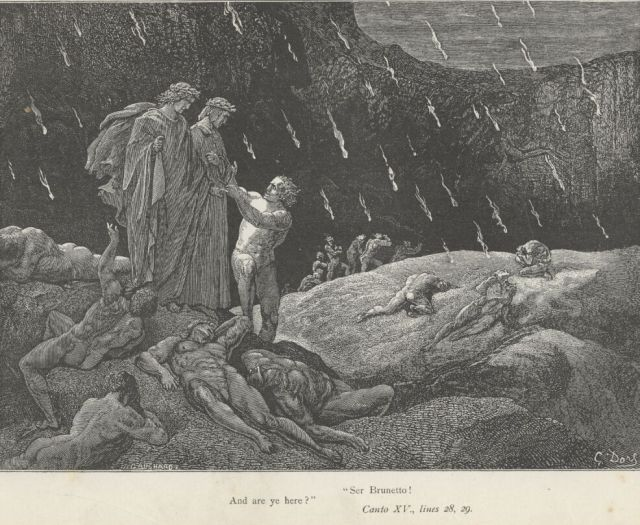 Dante and Virgil with Brunetto Latini. Gustave Doré